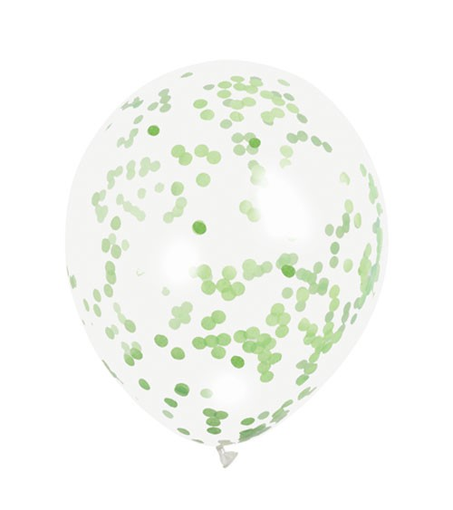 Konfetti-Ballons - lime green - 30 cm - 6 Stück