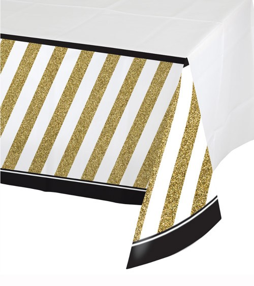 """Kunststoff-Tischdecke """"Black & Gold"""" - 137 x 259 cm"""