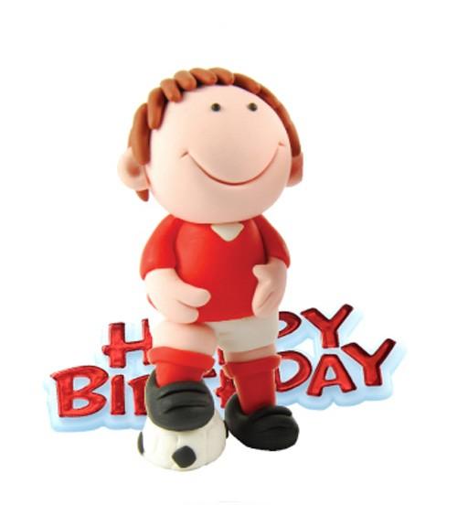"""Tortendekoration """"Fußballer"""" Happy Birthday - rot - 2-teilig"""