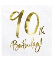 """Servietten """"90th Birthday!"""" - weiß/metallic gold - 20 Stück"""