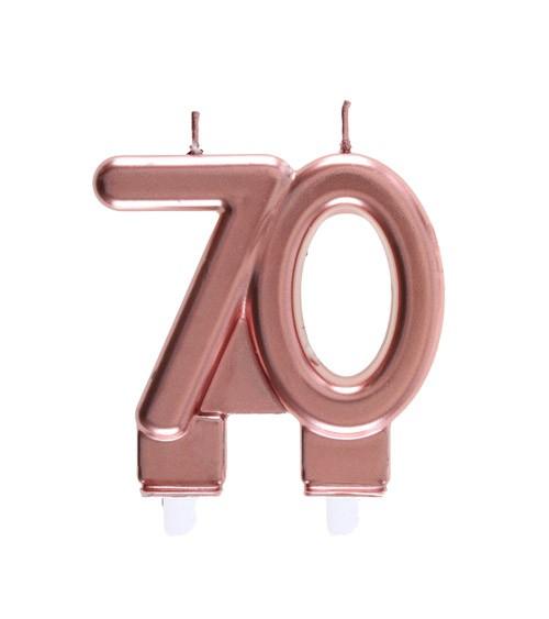 """Geburtstagskerze """"70"""" - rosegold - 7,5 x 7 cm"""