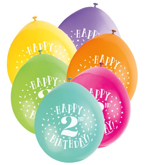 "Luftballon-Set ""Happy 2nd Birthday"" - bunt - 23 cm - 10 Stück"