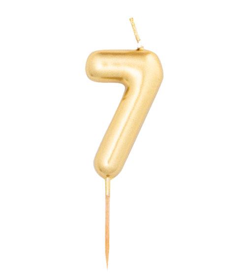 Zahlenkerze 7 in gold Geburtstag
