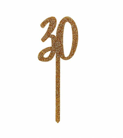 "Cake Topper aus Acryl ""30"" - glitter gold"