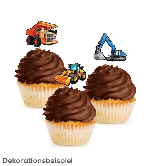 """Cupcake-Topper """"Baumaschinen"""" - 12 Stück"""