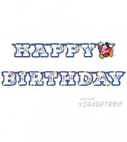 "Individualisierbare Happy Birthday Girlande ""Mickey Mouse"" - 1,8 m"