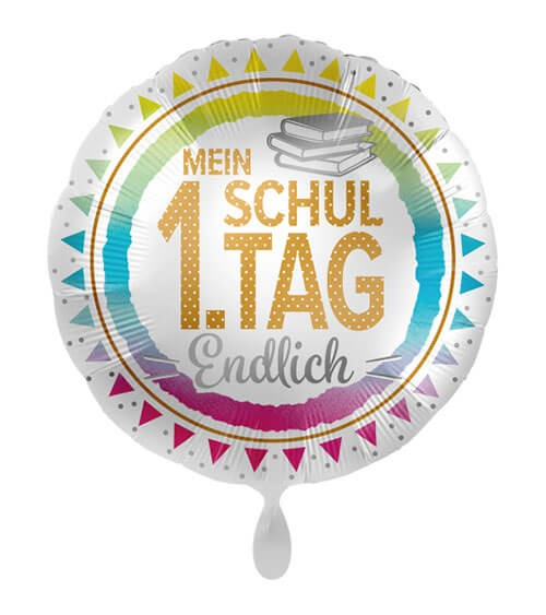 "Folienballon ""Mein 1. Schultag - Endlich"" - 43 cm"