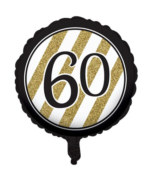 "Runder Folienballon ""Black & Gold"" - 60. Geburtstag"