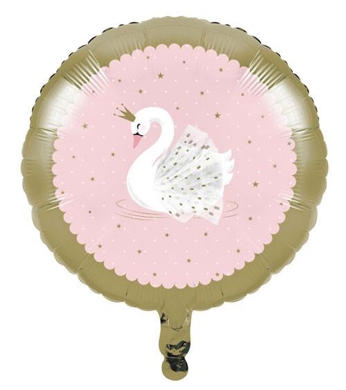 "Runder Folienballon ""Eleganter Schwan"" - 45 cm"