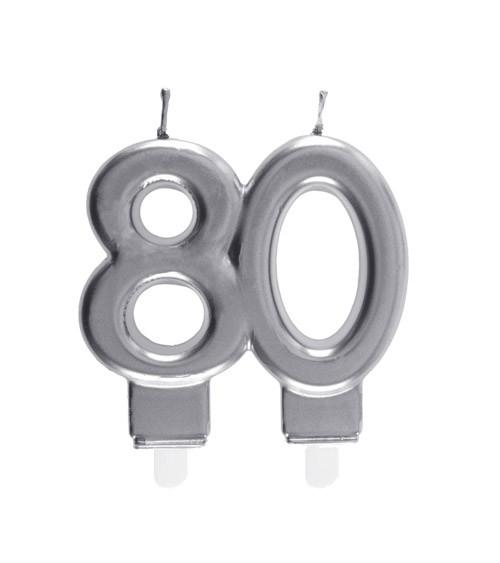 "Geburtstagskerze ""80"" - silber - 7,5 x 7 cm"