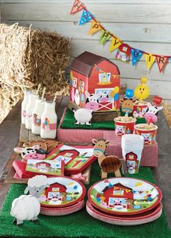 Bauernhof Partydeko Jungenparty Kindergeburtstag Pink Dots