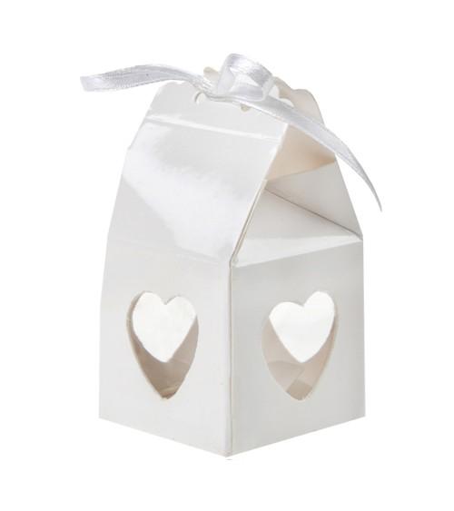 Gastgeschenkboxen mit Herzen - weiß - 4 Stück
