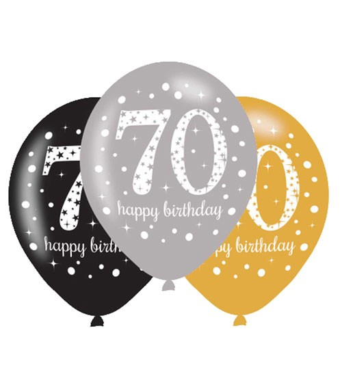 "Luftballon-Set ""Sparkling Celebration"" - 70. Geburtstag - 6-teilig"