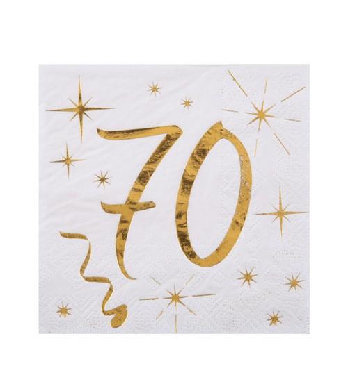 """Cocktail-Servietten """"70"""" - weiß, gold - 20 Stück"""