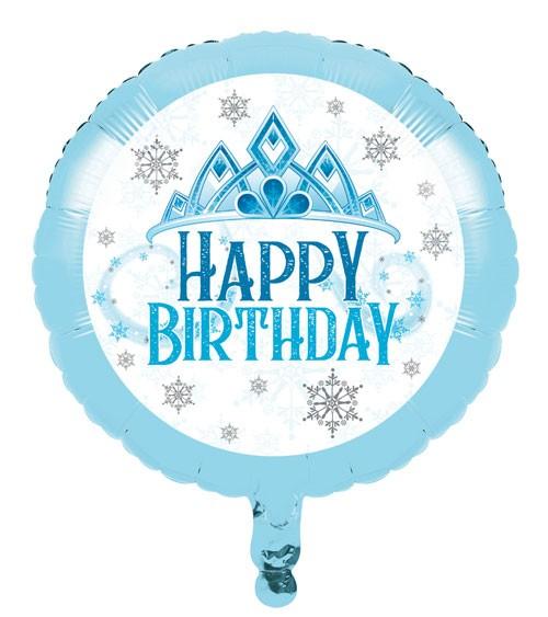 "Runder Folienballon ""Eiskristalle"" - Happy Birthday - 46 cm"