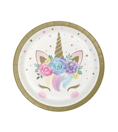 """Kleine Pappteller """"Unicorn"""" - 8 Stück"""