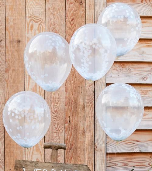 Transparente Ballons mit weißem Konfetti - 5 Stück