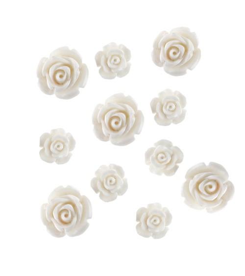 Streuteile Rosen aus Kunststoff - weiß - 20 Stück