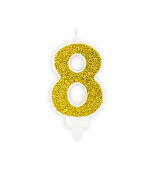 "Zahlenkerze mit Glitter ""8"" - gold - 7 cm"