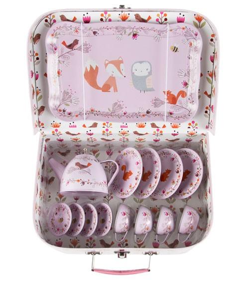 """Kinder-Teeservice aus Metall im Koffer """"Woodland"""" - 15-teilig"""