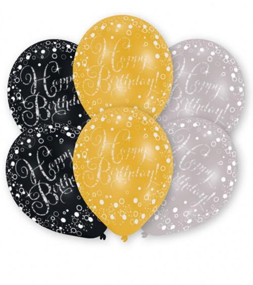 "Metallic-Luftballon-Set ""Happy Birthday"" - schwarz, gold, silber - 6 Stück"