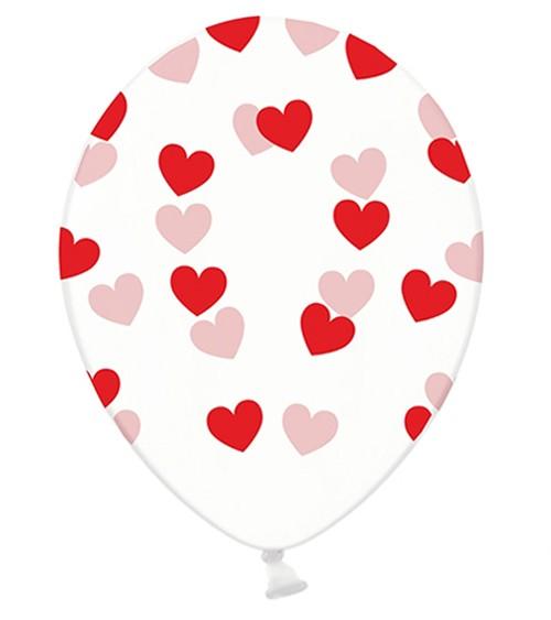"""Luftballons """"Rote Herzen"""" - transparent - 6 Stück"""
