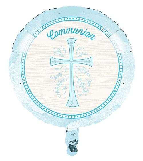 "Runder Folienballon ""Hellblaues Kreuz"" - Kommunion - 45 cm"