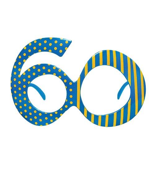 "Partybrille ""60"" - türkisblau/gelb"