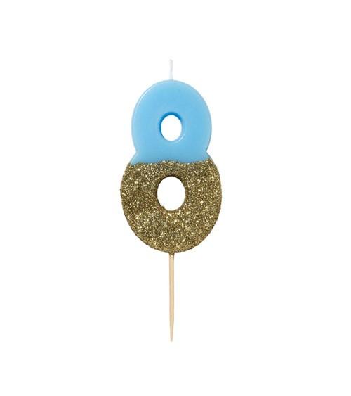 """Zahlenkerze """"8"""" - mit Goldglitter - blau"""
