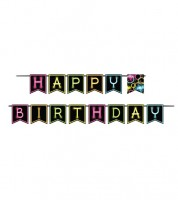 "Happy Birthday-Girlande ""Neon Party"" - 2,7 m"