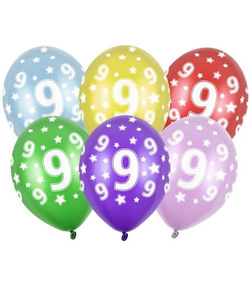 "Metallic-Luftballons ""9"" mit Sternen - 6 Stück"