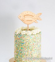 "Dein Cake-Topper ""Kommunion - Fische"" aus Holz - Wunschtext"