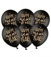 """Luftballons """"Happy New Year"""" - schwarz/gold - 6 Stück"""