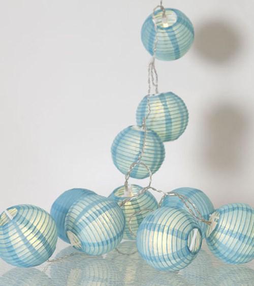 "LED-Lichterkette ""Papierlampion"" - türkisblau - 1,35 m"