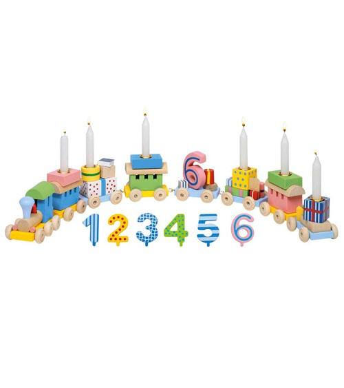Holz- Geburtstagszug mit Kerzenhalter und Zahlen