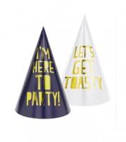 "Partyhüte ""I'm here to Party"" - navyblue/weiß - 6 Stück"