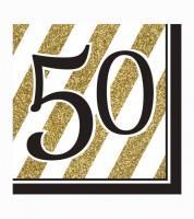 """Servietten """"Black & Gold - 50. Geburtstag"""" - 16 Stück"""
