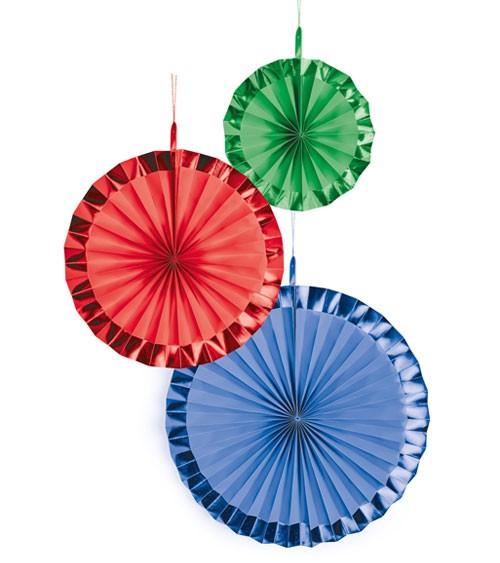 Papierfächer-Set mit Metallic-Rand - blau, rot, grün - 3-teilig