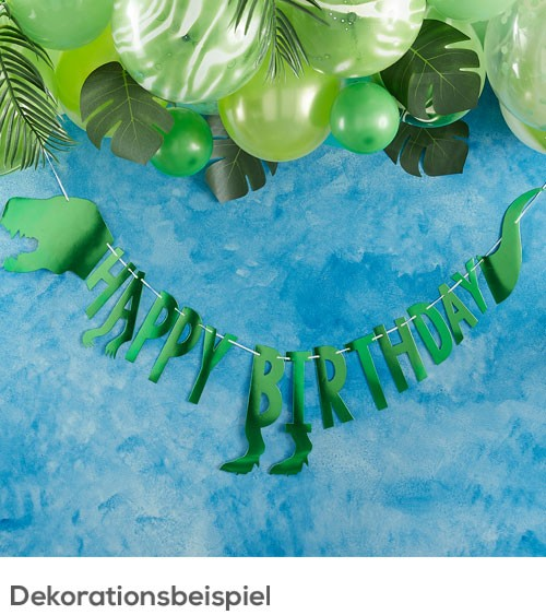 "Happy Birthday-Girlande ""Dinosaurier Party"" - metallic grün - 2 m"