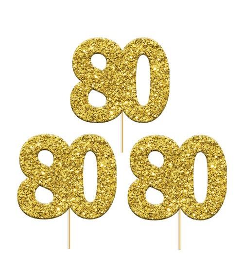 "Cupcake-Topper Zahl ""80"" - glitter gold - 12 Stück"