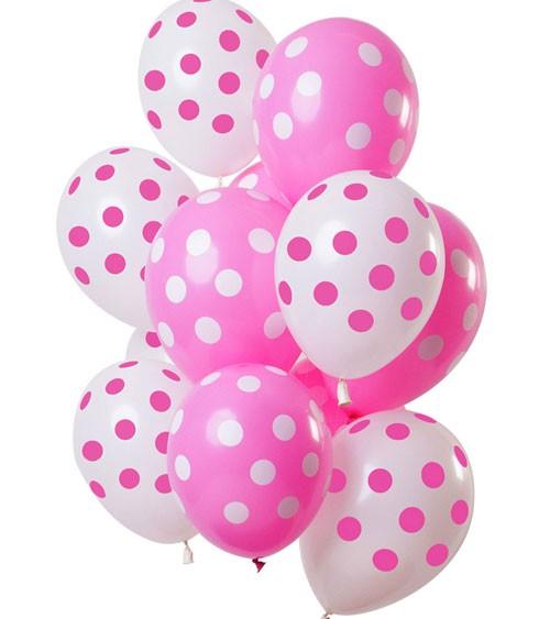 Luftballon-Set mit Punkten - Pink & Weiß - 12-teilig