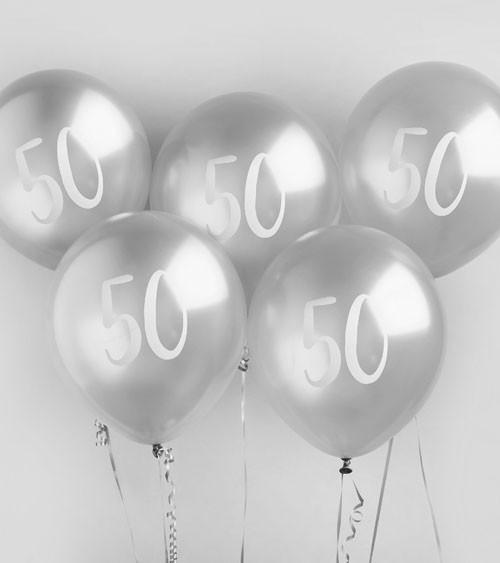 """Metallic-Luftballons """"50"""" - silber - 5 Stück"""