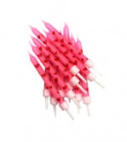 Kuchenkerzen mit roten Herzen - rosa - 12 Stück