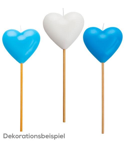 """Große Kuchenkerze """"Herz"""" - weiß/hellblau/blau - sortiert"""
