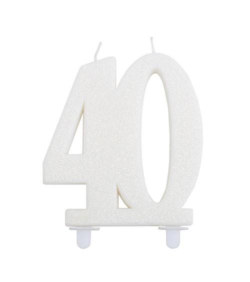 """Geburtstagskerze mit Glitter """"40"""" - weiß"""