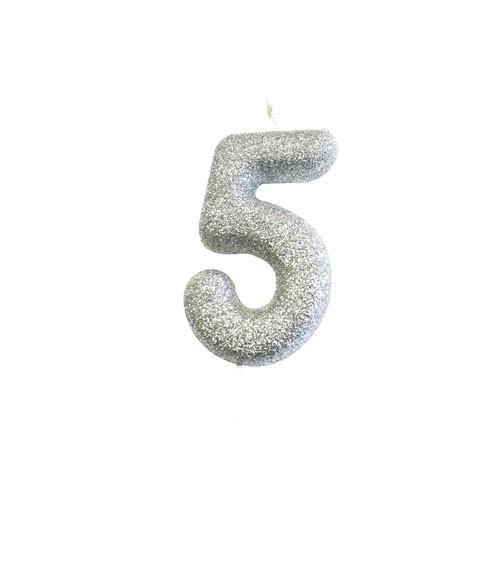 """Geburtstagskerze mit Glitter """"5"""" - silber"""