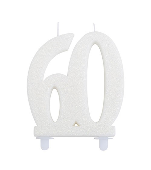 """Geburtstagskerze mit Glitter """"60"""" - weiß"""
