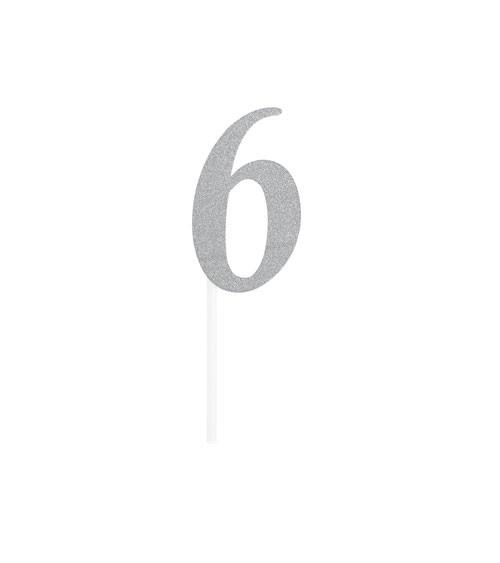 """Kuchen-Topper-Zahl aus Pappe """"6"""" - glitter silber - 4,5 x 8 cm"""