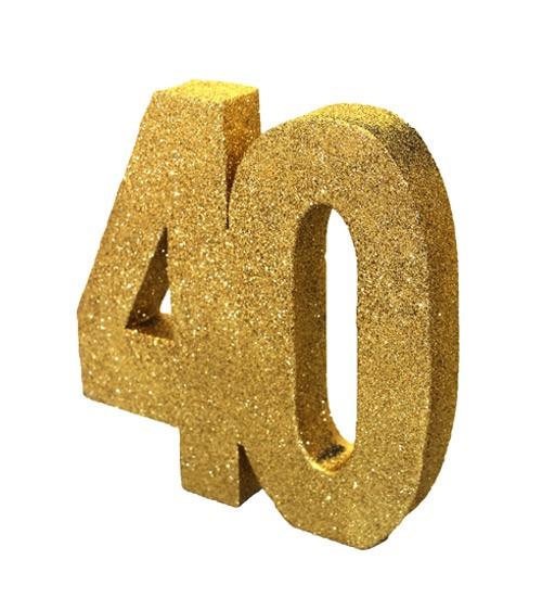 "Tischdeko Zahl ""40"" - glitter gold - 20 cm"