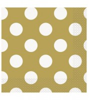 "Servietten ""Big Dots"" - gold - 16 Stück"